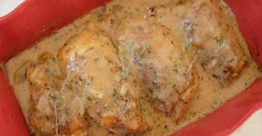 Poulet sauce au thym et ail avec une note citronnée tellement bon