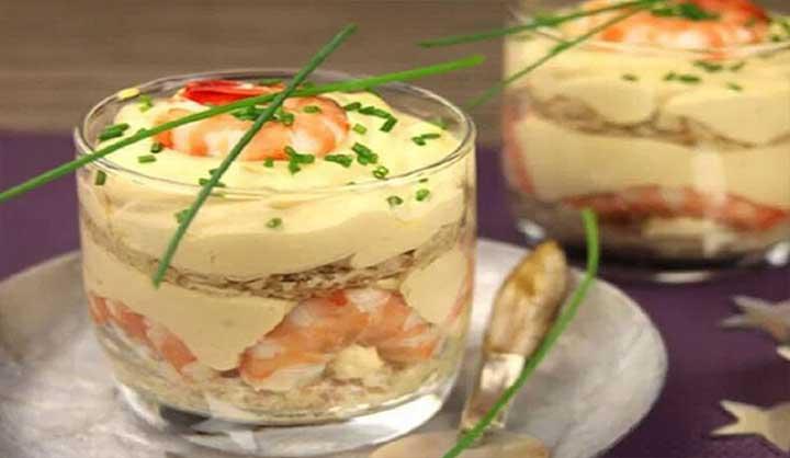 Verrines de crevettes et homards au mascarpone façon tiramisu