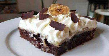 Brownies chocolat banane chantilly