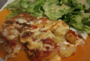Gratin de pommes de terre au chorizo, tomate & béchamel